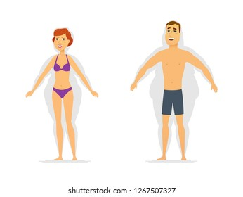Weight loss - modern cartoon people characters illustration isolated on white background. Composition with young smiling man and pretty woman with shadows of fat shapes. Successful diet, sport concept