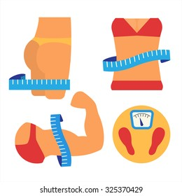 Weight loss and muscles growth. Healthy lifestyle concept. Fitness and measurement. Flat vector illustration.