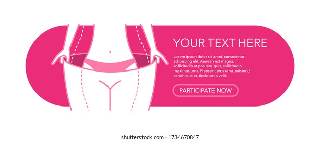 Weight loss program banner template - slim woman body try on oversize  pants шт thin line decoration - place for text and web button - isolated vector poster
