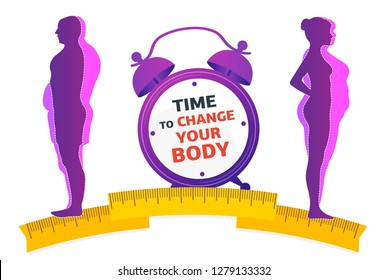 Weight loss. Time to change your body.  Man and woman before and after diet and fitness.