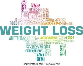 Weight loss vector illustration word cloud isolated on a white background.