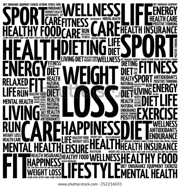 Weight Loss Word Cloud Background Health Stock Vector Royalty Free 352216031
