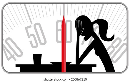 Weight obsession. Slim woman silhouette in front of a table with a dish inside a balance. Representing the drama of anorexia and bulimia,