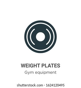 Weight plates glyph icon vector on white background. Flat vector weight plates icon symbol sign from modern gym equipment collection for mobile concept and web apps design.