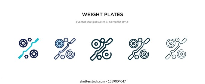 weight plates icon in different style vector illustration. two colored and black weight plates vector icons designed in filled, outline, line and stroke style can be used for web, mobile, ui