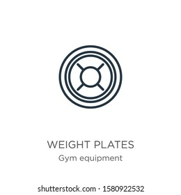 Weight plates icon. Thin linear weight plates outline icon isolated on white background from gym equipment collection. Line vector sign, symbol for web and mobile