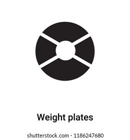 Weight plates icon vector isolated on white background, logo concept of Weight plates sign on transparent background, filled black symbol