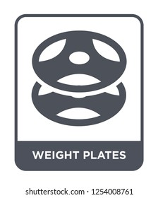 weight plates icon vector on white background, weight plates trendy filled icons from Gym equipment collection, weight plates simple element illustration
