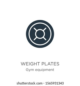 Weight plates icon vector. Trendy flat weight plates icon from gym equipment collection isolated on white background. Vector illustration can be used for web and mobile graphic design, logo, eps10