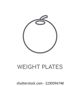 Weight plates linear icon. Modern outline Weight plates logo concept on white background from Gym and Fitness collection. Suitable for use on web apps, mobile apps and print media.