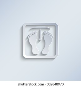 weight scale with foot prints - paper vector icon