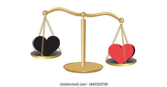 Weight scale with heavier red heart, than the black heart.