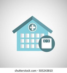 weight scale hospital building icon vector illustration eps 10