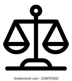Weight scale icon, justice concept