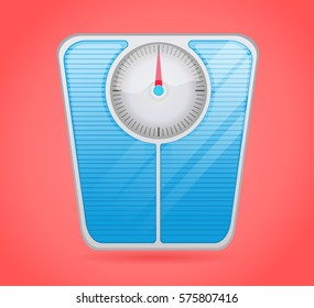 Weight Scale isolated with red background, scale vector illustration