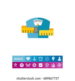 Weight scale with measuring tape icon