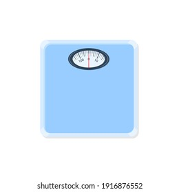 weight scales vector, blue color and numbers. white background