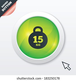 Weight sign icon. 15 kilogram (kg). Sport symbol. Fitness. Green shiny button. Modern UI website button with mouse cursor pointer. Vector