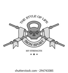 The weight of the skull, a barbell and a ribbon in vintage style. Iron sports logo, emblem.