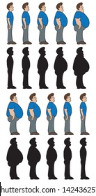 Weight stages. Man shown going from thin to chubby and chubby to thin. Also in silhouette.