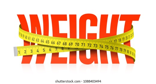 Weight word with measuring tape, diet theme. Vector illustration