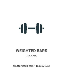 Weighted bars glyph icon vector on white background. Flat vector weighted bars icon symbol sign from modern sports collection for mobile concept and web apps design.