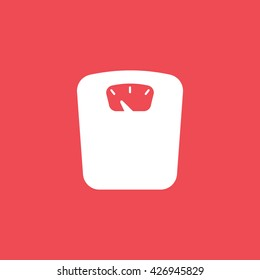 Weighting Flat Icon On Red Background