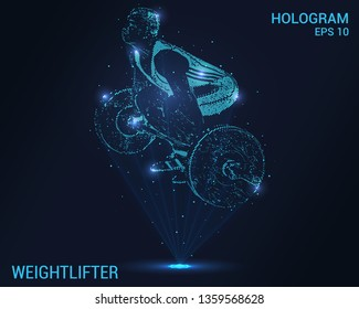 Weightlifter hologram. Holographic projection of a weightlifter. Flickering energy flux of particles. The scientific design of the weightlifter