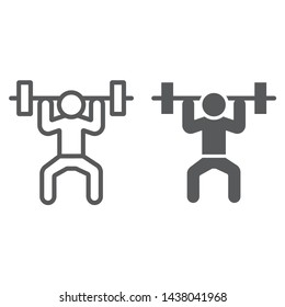 Weightlifter line and glyph icon, sport and bodybuilding, weightlifting sign, vector graphics, a linear pattern on a white background, eps 10.