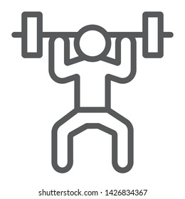 Weightlifter line icon, sport and bodybuilding, weightlifting sign, vector graphics, a linear pattern on a white background, eps 10.