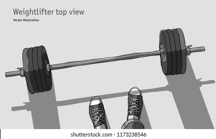 Weightlifter men feet top view grayscale