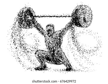 Weightlifter of the particles. Silhouette of a Weightlifter from particles, color can be changed in one click. Weightlifter  player