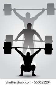 Weightlifter is sitting with barbell. Snatch. three silhouettes of athletes doing snatch exercise. weightlifting.