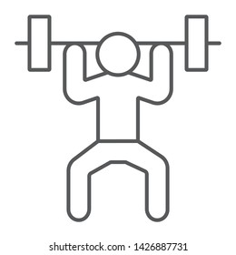Weightlifter thin line icon, sport and bodybuilding, weightlifting sign, vector graphics, a linear pattern on a white background, eps 10.