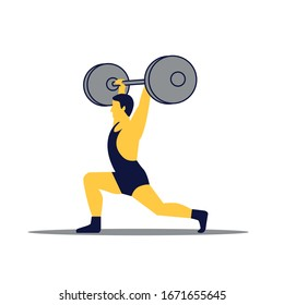Weightlifting athlete sportsman. Strong man. Sports infographic.