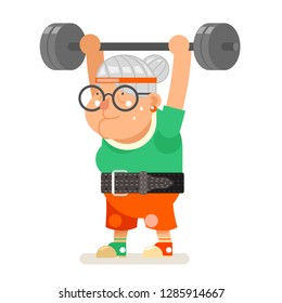 Weightlifting fitness healthy activities granny adult age old woman character cartoon flat design vector illustration