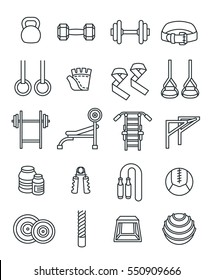 Weightlifting flat thin line vector icons set. Bodybuilding exercises equipment pictograms. Weight lifting training objects. Powerlifting gym workout elements. Healthy lifestyle and physical activity