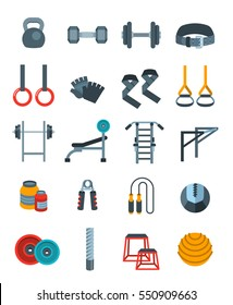 Weightlifting flat vector icons set. Bodybuilding exercises equipment pictograms. Weight lifting training objects. Powerlifting gym workout elements. Healthy lifestyle and physical activity symbols