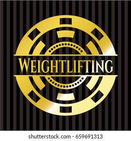 Weightlifting golden emblem or badge