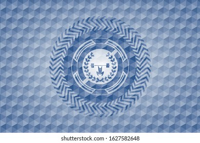 weightlifting inside of crown icon inside blue emblem or badge with abstract geometric pattern background.