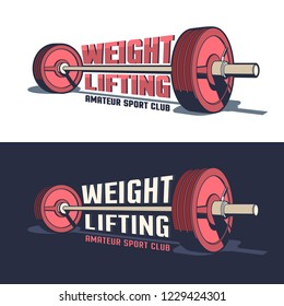 Weightlifting or powerlifting sports vintage emblem with a barbell in 3D style and inscriptions