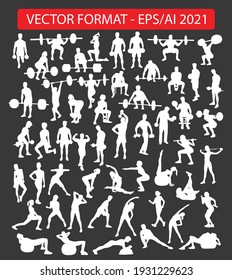Weightlifting silhouettes vector image eps 2021