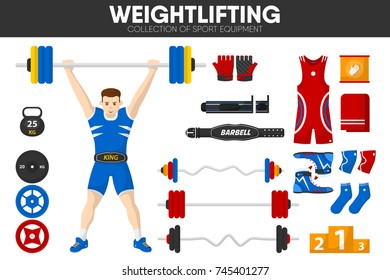 Weightlifting sport gym equipment weightlifter man garment accessory vector icons set