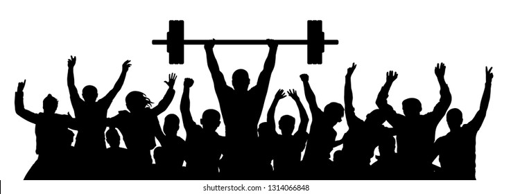 Weightlifting strong man. Weightlifter sport silhouette. Crowd of fans joy of victory. Vector illustration