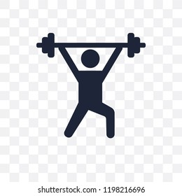 Weightlifting transparent icon. Weightlifting symbol design from Gym and fitness collection. Simple element vector illustration on transparent background.