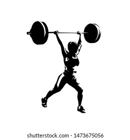Weightlifting, woman lifting big barbell, isolated vector silhouette, ink drawing