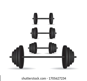 Weights set black collection illustration