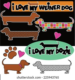 Weiner Dogs cartoon style drawings
