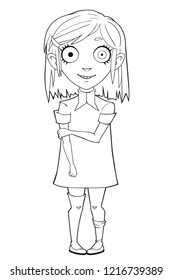 Weird cartoon girl in old fashioned dress. Vector illustration of cartoon girl for coloring.