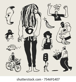 Weird doodles set. Hand-drawn black personages on isolated background. Vector illustration.